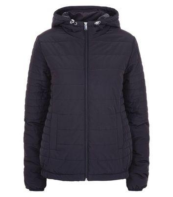 Black Hooded Puffer Jacket New Look