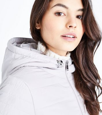 Grey Hooded Puffer Jacket New Look