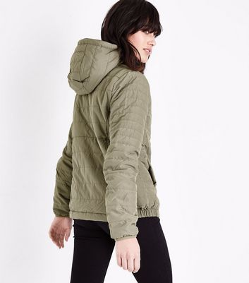 Olive Green Hooded Puffer Jacket New Look