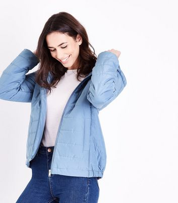 Pale Blue Hooded Puffer Jacket New Look