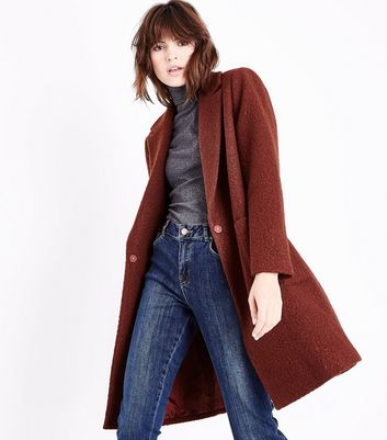 Manteau cocon rouge brique