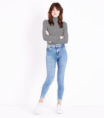 Blue Fray Hem High Waist Super Skinny Hallie Jeans New Look