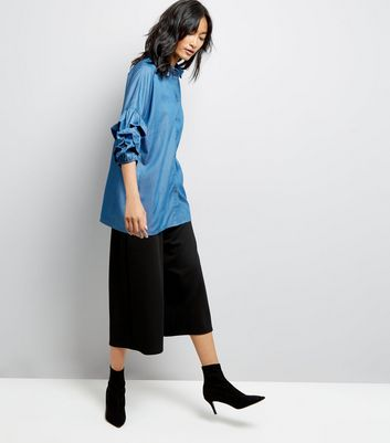 Blue Denim Puff Sleeve Shirt New Look
