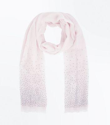 Pink Stud Embellished Scarf New Look