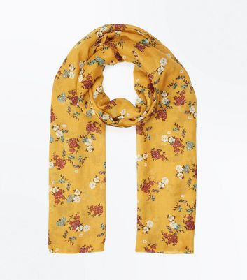 Yellow Floral Pattern Longline Scarf New Look