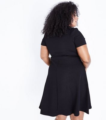 Black Sweetheart Waffle Texture Skater Dress New Look