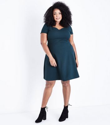 Dark Green Sweetheart Waffle Texture Skater Dress New Look