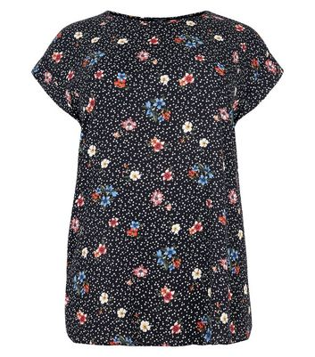 Curves Floral Star Print Jersey Back T-Shirt New Look