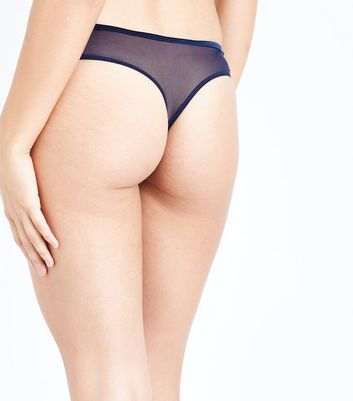 Navy Diamante Embellished Lace Strappy Thong New Look