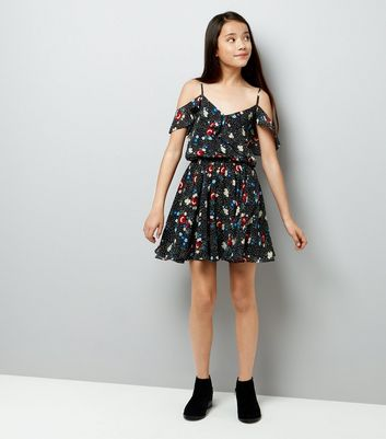Teens Black Floral Cold Shoulder Dress New Look