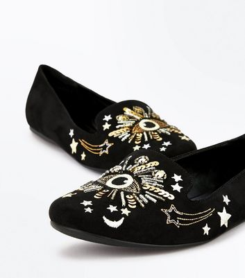 Black Suedette Eye Embellished Loafers New Look