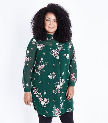 Curves Green Floral Print Longline Shirt New Look