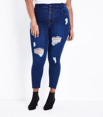 Curves Blue Ripped High Waist Skinny Jeans New Look