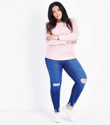 Curves Bright Blue Ripped Distressed Hem Skinny Jeans New Look