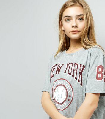 Teens Grey New York Print T-Shirt New Look