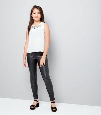 Teens Cream Collar Embroidered Sleeveless Top New Look
