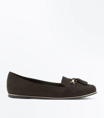 Black Suedette Tassel Metallic Trim Loafers New Look