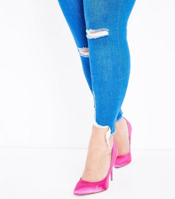Curves Blue Raw Hem Ripped Skinny Jeans New Look