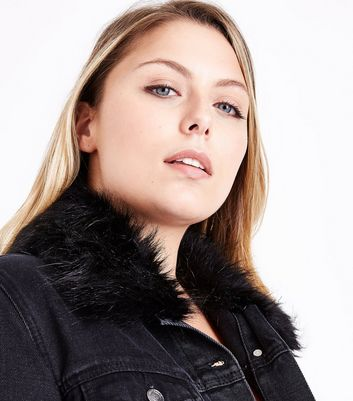 Curves Black Faux Fur Collar Denim Jacket New Look