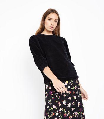 Black Ribbed Velour Sweatshirt New Look