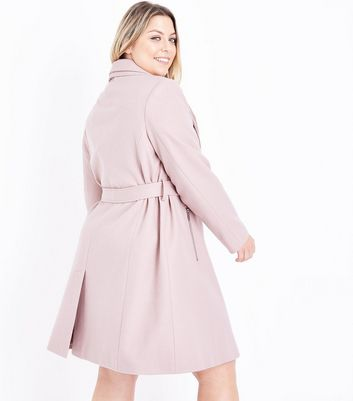 Curves Shell Pink Layered Collar Belted Coat New Look