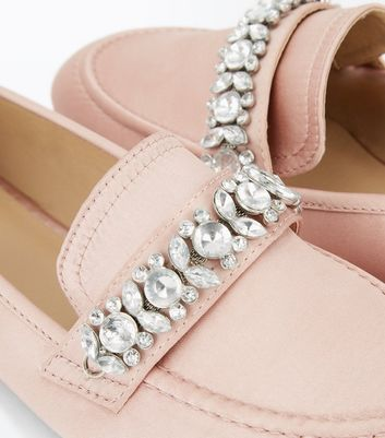 Pink Satin Embellished Slip On Loafer New Look