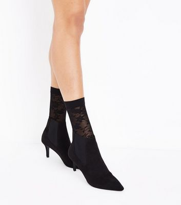 Black Floral Lace Socks New Look