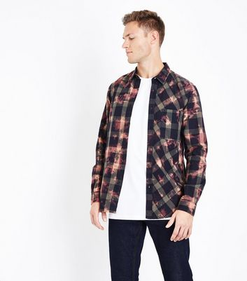 Red Tie Dye Check Shirt New Look