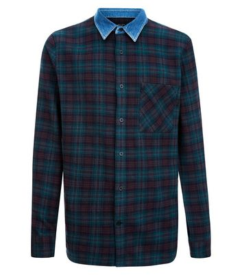 Green Check Shirt With Denim Collar New Look