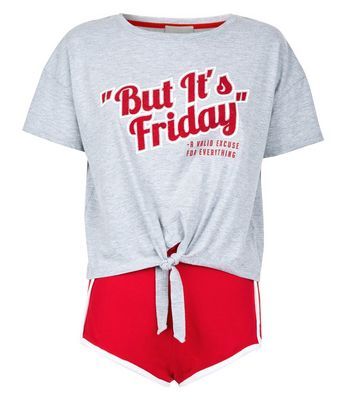 Red It's Friday Slogan Pyjama Set New Look
