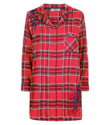 Red Check Collared Night Shirt New Look