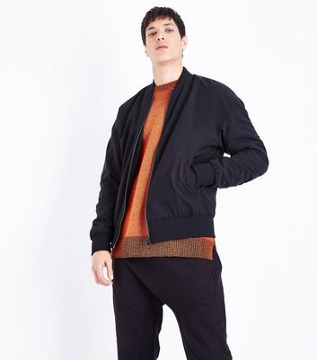 Black Oversized Bomber Jacket New Look