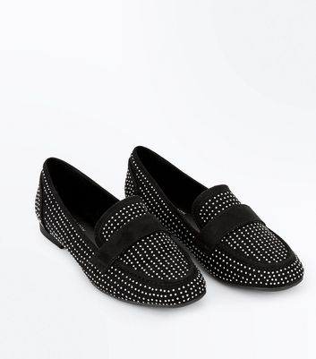 Black Suedette Stud Loafers New Look