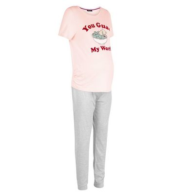 Maternity Pink Guac My World Slogan Pyjama Set New Look