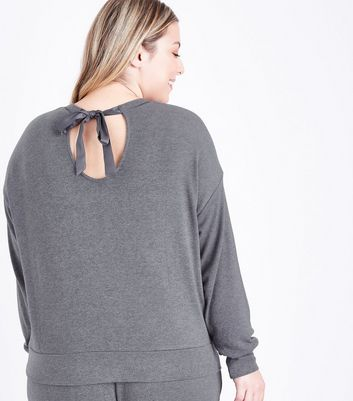 Curves Dark Grey Satin Bow Back Pyjama Sweatshirt New Look