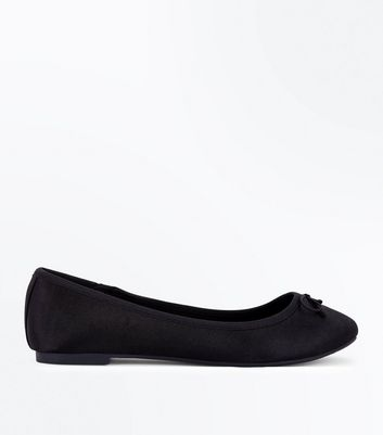 Wide Fit Black Satin Ballet Pumps New Look