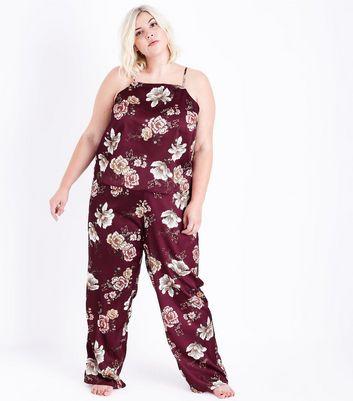 Curves Burgundy Floral Satin Pyjama Bottoms New Look