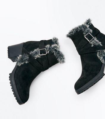 Black Faux Fur Trim Block Heel Boots New Look