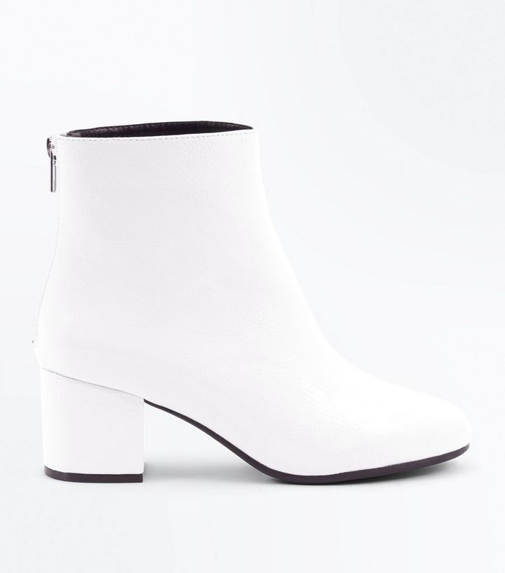 045825e4f85 Wide Fit White Patent Block Heel Ankle Boots