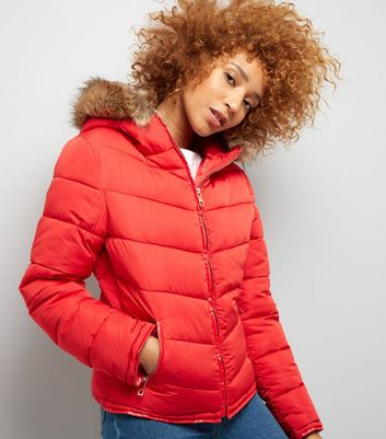 Parisian Red Faux Fur Padded Jacket New Look