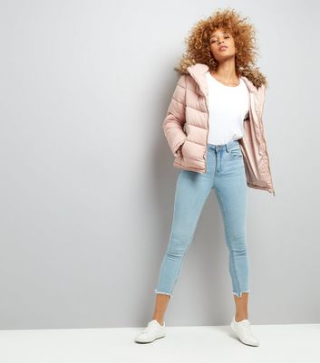 Parisian Shell Pink Faux Fur Padded Jacket New Look