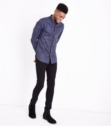 Blue Leopard Print Long Sleeve Shirt New Look