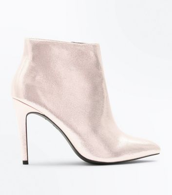 Rose Gold Metallic Stiletto Heeled Shoe Boots New Look