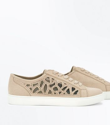 Nude Cut Out Mesh Diamante Trainers New Look