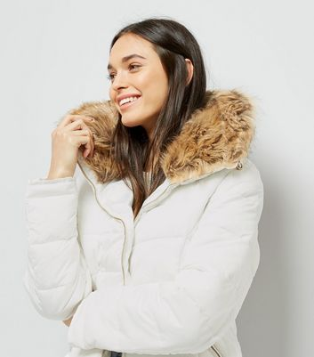 Parisian White Faux Fur Trim Puffer Jacket New Look