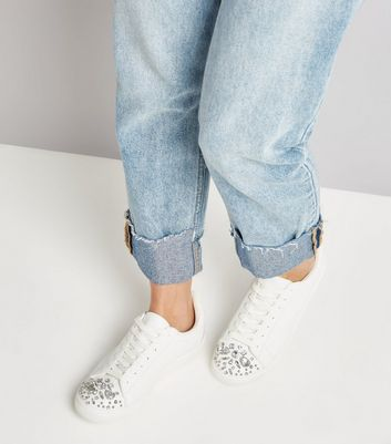 White Embellished Toe Lace Up Trainers New Look