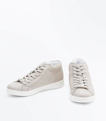 Grey High Top Lace Up Trainers New Look