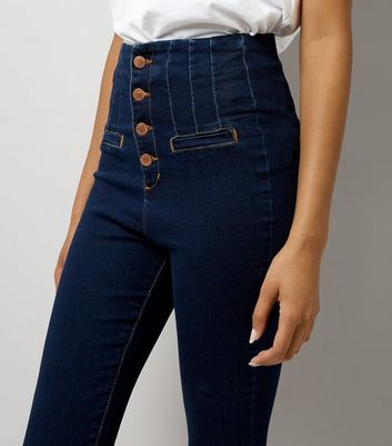 Navy High Waisted Button Front Skinny Jeans New Look