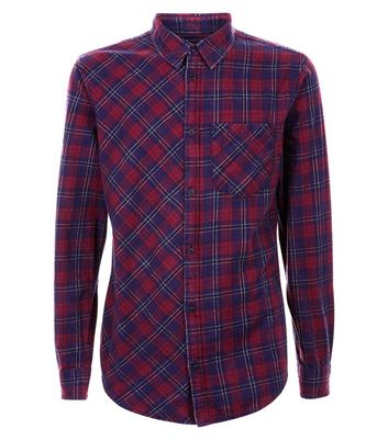 Red Washed Check Shirt New Look