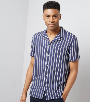 Navy Stripe Revere Shirt New Look